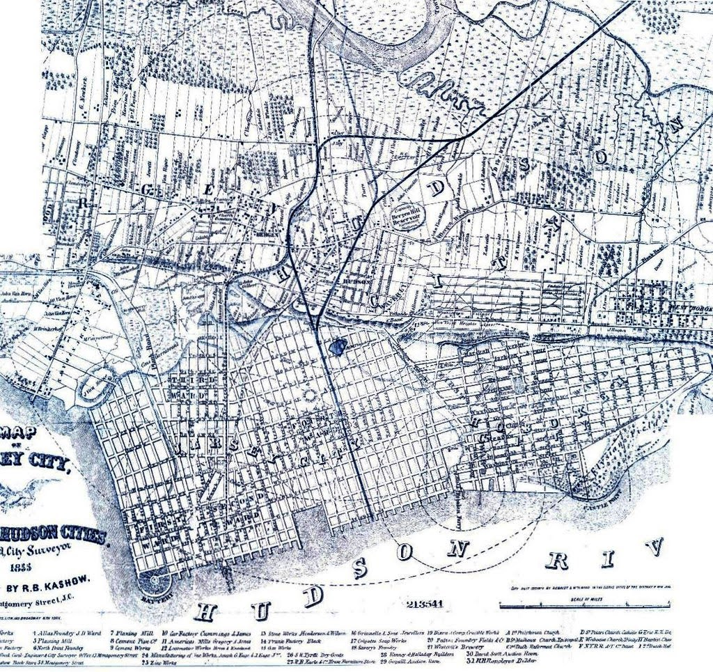Black and white map of Jersey City in 1855