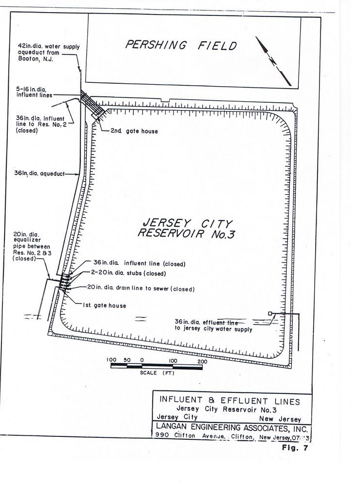 Langan Engineering Associates, Inc. diagram of influent and effluent lines. Drawings of gatehouse, watersupply and sewer line locations.